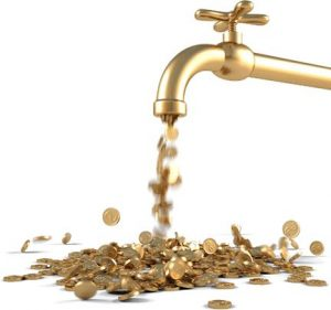 Gold coins flowing from a gold tap